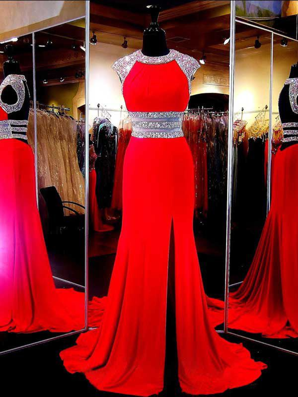 Robe de Soirée Rouge Sirène Col Montant Traîne Pinceau Satin Elastique #SP1104