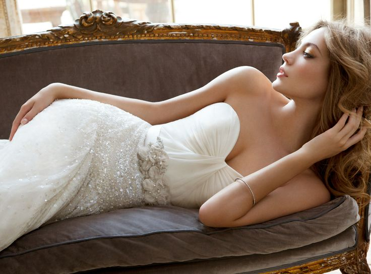 Hayley Paige: Ivory Strapless georgette dropped waist modified A-line bridal gown with draped sweetheart neckline, crystal