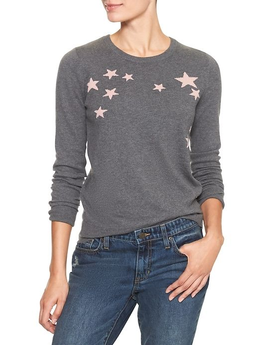 Star Intarsia Crewneck Sweater Gap Factory Animal