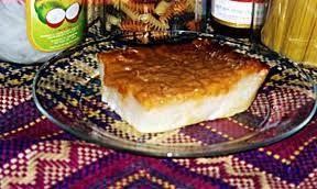 Sticky rice cake with caramelized sugar topping.Fillipino...yumm!