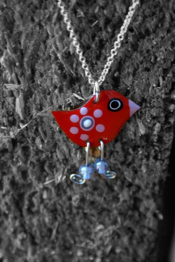 Red cute bird necklace Red necklace Stainless by HorakovaDesigns, $15.00