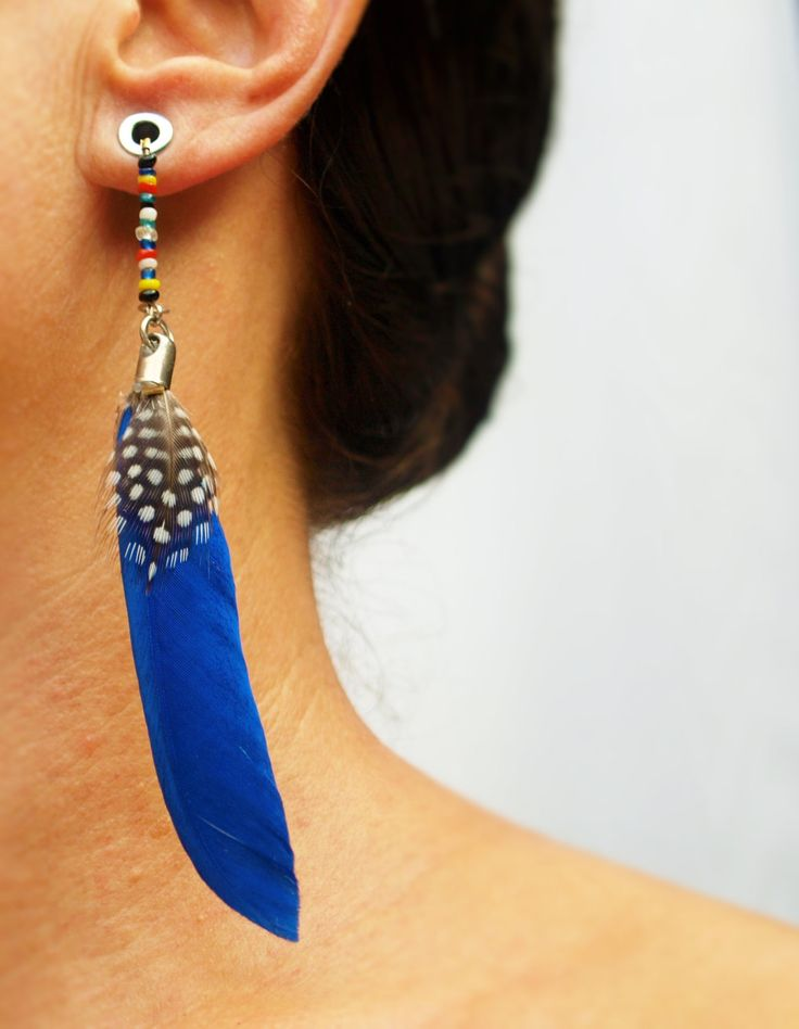 Earrings for Tunnels & Eyelets / Dangling Gauge / Plug Earrings for Stretched Ear Lobes - Royal Blue Feather by RezahDesignStudio on Etsy