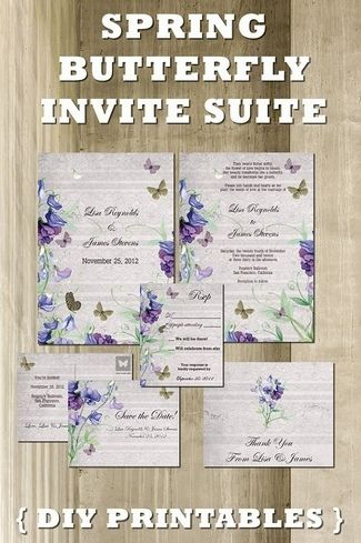 DIY Spring Butterfly Vintage Wedding Invitation Suite Printables - Invite your wedding guests in butterfly style with these pretty springtime butterfly wedding stationary printables, which includes a Save-the-Date, Wedding Invitation and matching Response/ RSVP and Thank You card printables.