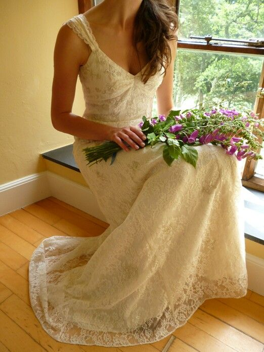 Stunning Arm Sheaf/Pageant Style Bridal Bouquet Of Purple Foxglove>