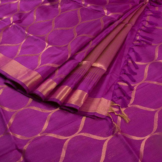 Dark Purple Handwoven Jamdani Trellis-OG Uppada Silk Saree 10005896 - AVISHYA.COM