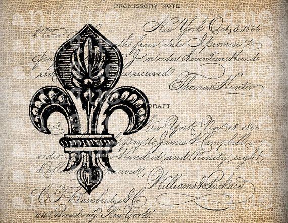 Antique French Fleur de Lis Ornate Script Digital Download for Papercrafts, Transfer, Pillows, etc. Burlap No 2515