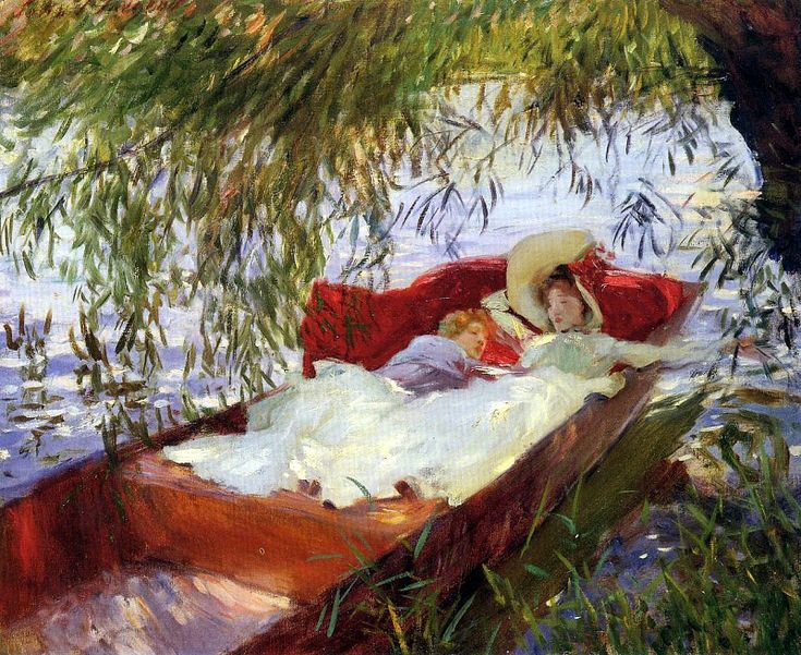 Two Women Asleep in a Punt under the Willows 1887. Джон Сингер Сарджент