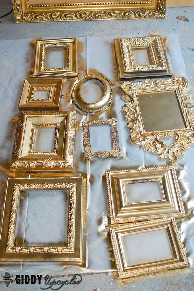 gallery wall vintage frames spray painted white french, chalk paint