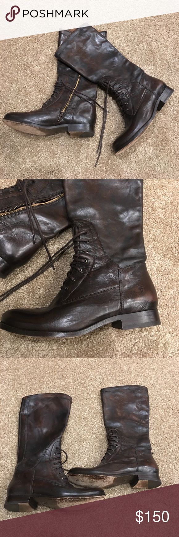 Frye Riding Boots 8 Dark brown Frye riding boots size 8. Worn a few times, but still in great condition. The bottoms are the only thing that show wear. The leather is in great condition! No scuffs or scratches! Make an offer! Frye Shoes Winter & Rain Boots