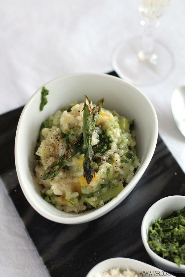 Sekt-Gemüse-Pesto-Risotto mit gebratenem grünen Spargel + Großes Henkell Sekt-Giveaway | Verlockendes... | Bloglovin'