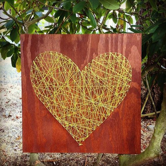 LOVE this piece!!!  Photo wall, little girl's room, next to wedding photo...Custom Made 16 x 16 Sting Heart on Wood by TautlyTangled on Etsy