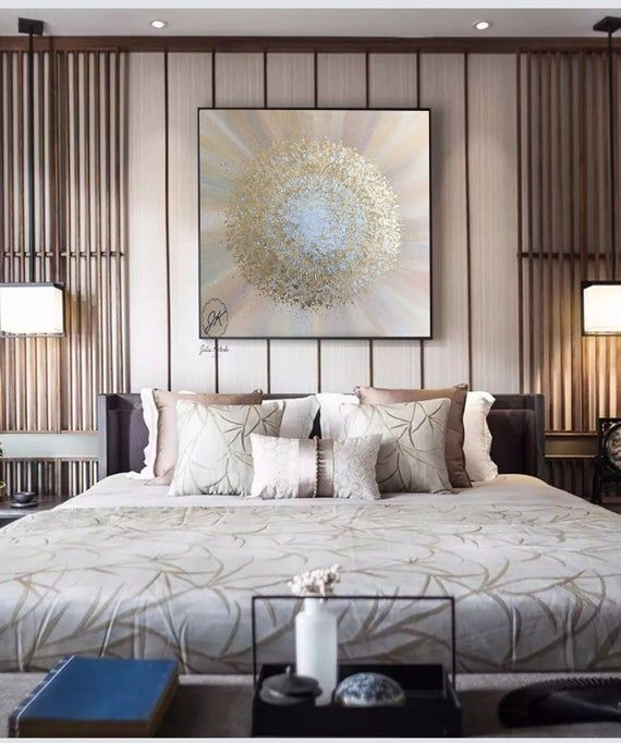 Gold Leaf Painting, Sunburst wall decor, Apartment decor, Textured wall art, Big canvas art, Above c
