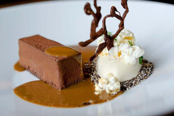 Chocolate & popcorn - chocolate cake with peanut crumbs, hot coffee sauce and popcorn ice cream