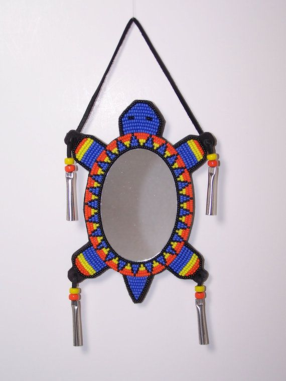 Native American Handmade Turtle Dance Mirror by TrackthePony