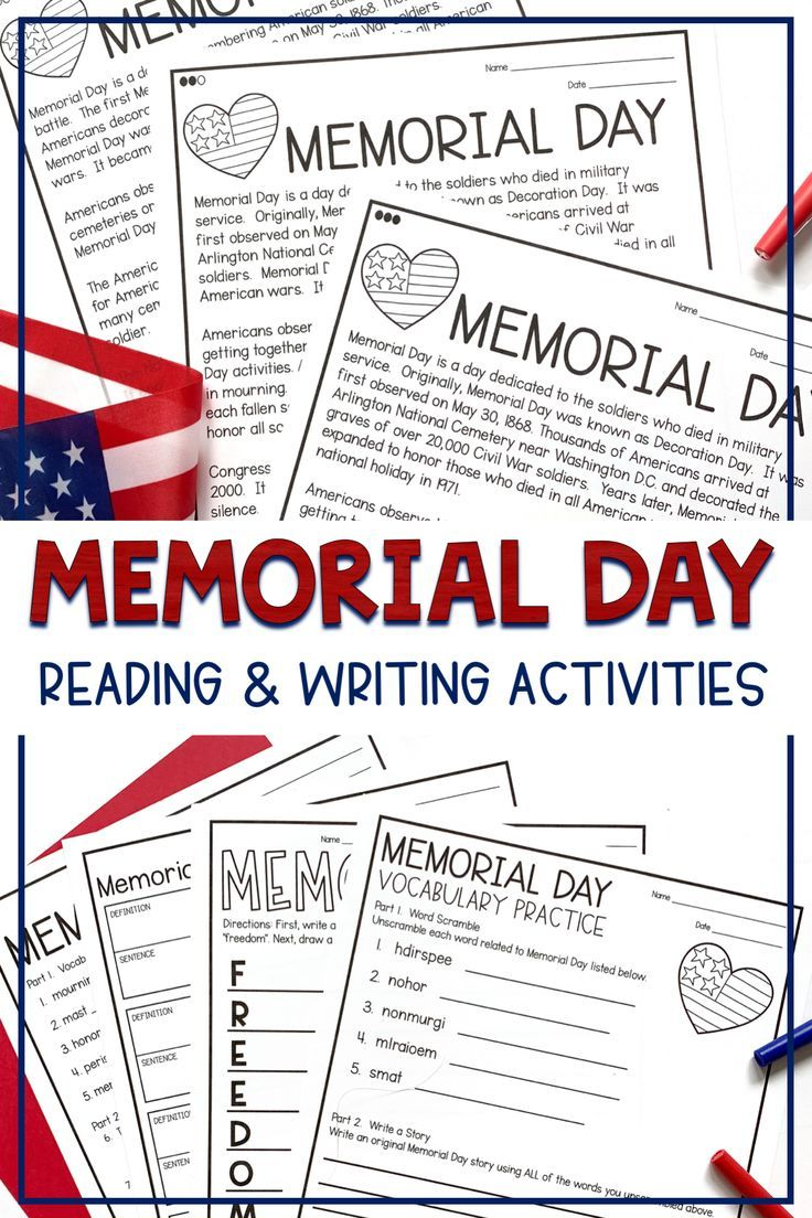 - Memorial Day Differentiated Reading Activities Informational