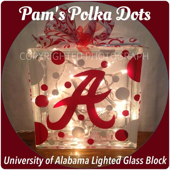 University Of Alabama Lighted Glass Block Roll Tide With Polka Dots Ribbon Great For Mantle Mantle Entryway Shelf Home Decor