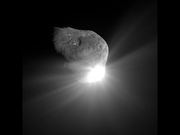 An Unexpected Ending for Deep Impact by JASON MAJOR on SEPTEMBER 20, 2013 Comet Tempel 1 a minute after being struck by Deep Impact's impactor on July 4, 2005 (NASA/JPL-Caltech/UMD) After almost 9 years in space that included an unprecedented July 4th impact and subsequent flyby of a comet, an additional comet flyby, and the return of approximately 500,000 images of celestial objects, NASA's Deep Impact/EPOXI mission has officially been brought to a close.