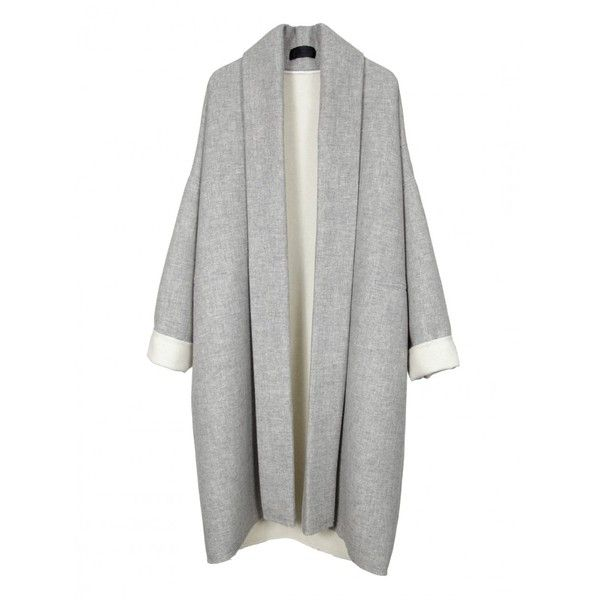 WRAP KIMONO COAT ($599) ❤ liked on Polyvore featuring women's fashion, outerwear, coats, jackets, tops, cardigans, wrap coat, wool wrap coat, woolen coat and wool coat