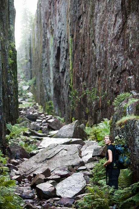 """Slåttdalsskrevan i Skuleskogens nationalpark / A narrow ravine """"Slåttdalsskrevan"""" in Skuleskogen National Park"""