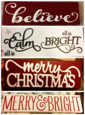 Christmas signs. DIY. Silhouette Cameo. Holiday decor. Popular with the Poplins