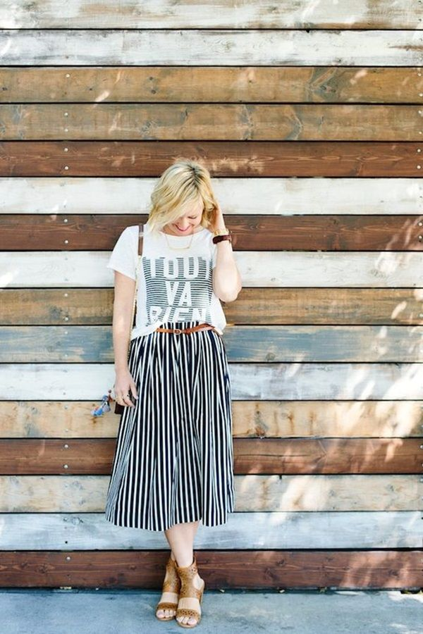 45 Striped Skirt Outfit Ideas to copy ASAP