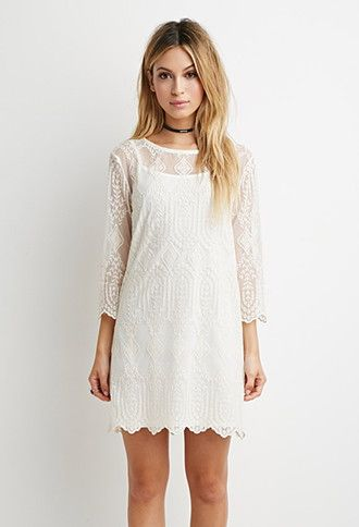 Embroidered-Mesh Shift Dress | Forever 21 | #thelatest