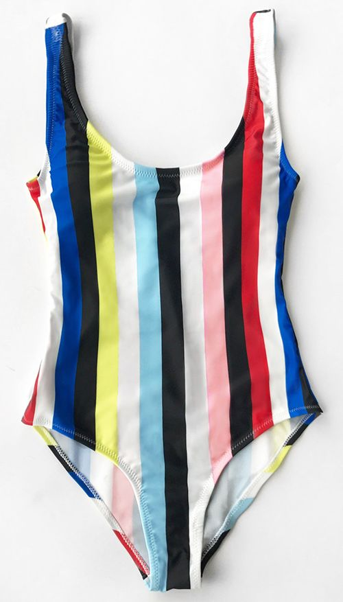Only $21.99 Now! Easy Return + Refund! High quality & Better service! You will captivate everyone in the crowd. This multi-color one-piece features open back design&high leg cut! Get this striped classic at Cupshe.com