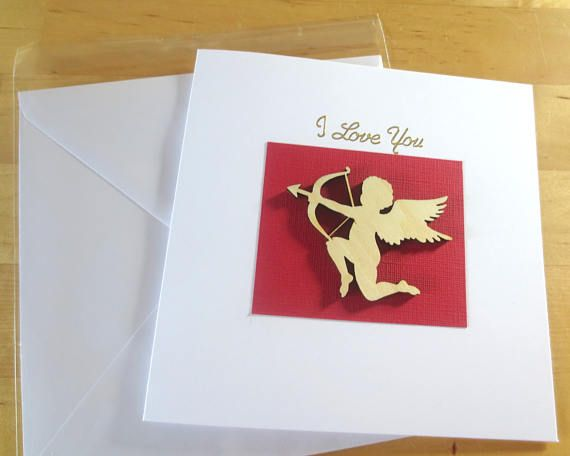 Cupid  I Love you Card  Cupid card Handmade   Romantic Card