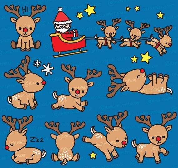 Premie Vector Clipart – Kawaii Rudolf de rode neus rendieren – schattige rendieren Clipart Set – hoge kwaliteit vectoren – Kawaii kerst Clipart