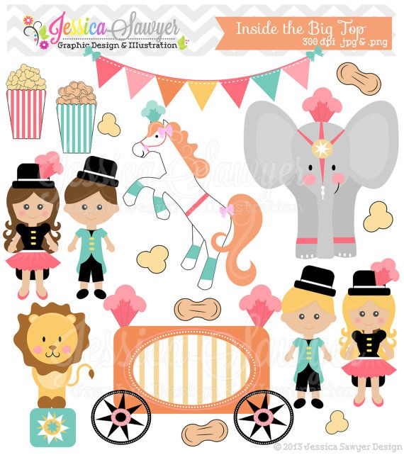 INSTANT DOWNLOAD, circus clipart, carnival clip art, for commercial use, invitations, party supplies