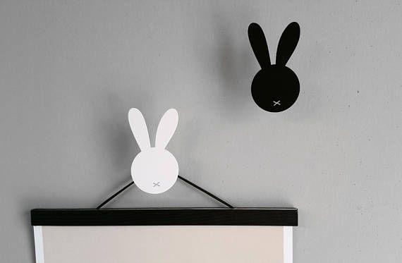 Rabbit Wall hooks, Bunny Wall hook, Nordic Wall Decor, Nursery Wall hooks, Scandinavian Decor