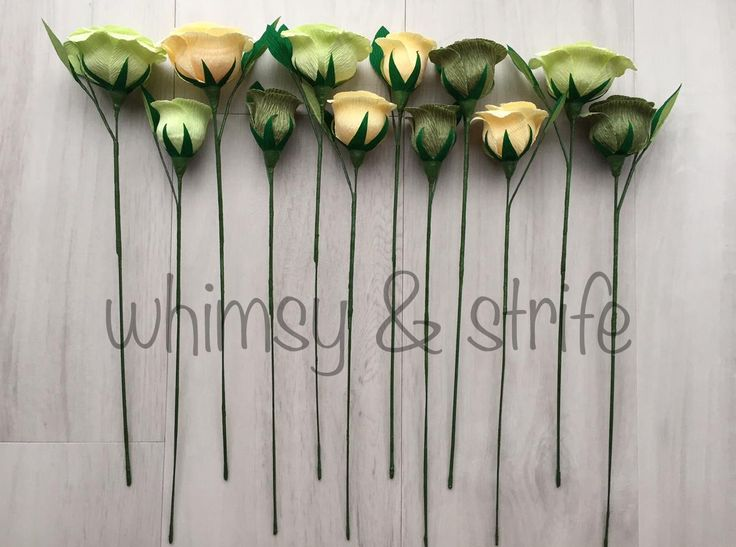 12 roses in vanilla, sage & pale green all with leaves. Made with crepe paper and fully wired.