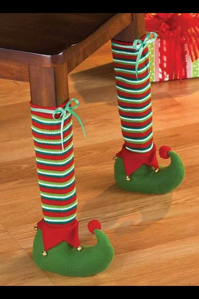 Christmas elf table legs...already have santa chair hats why not?!!?!?