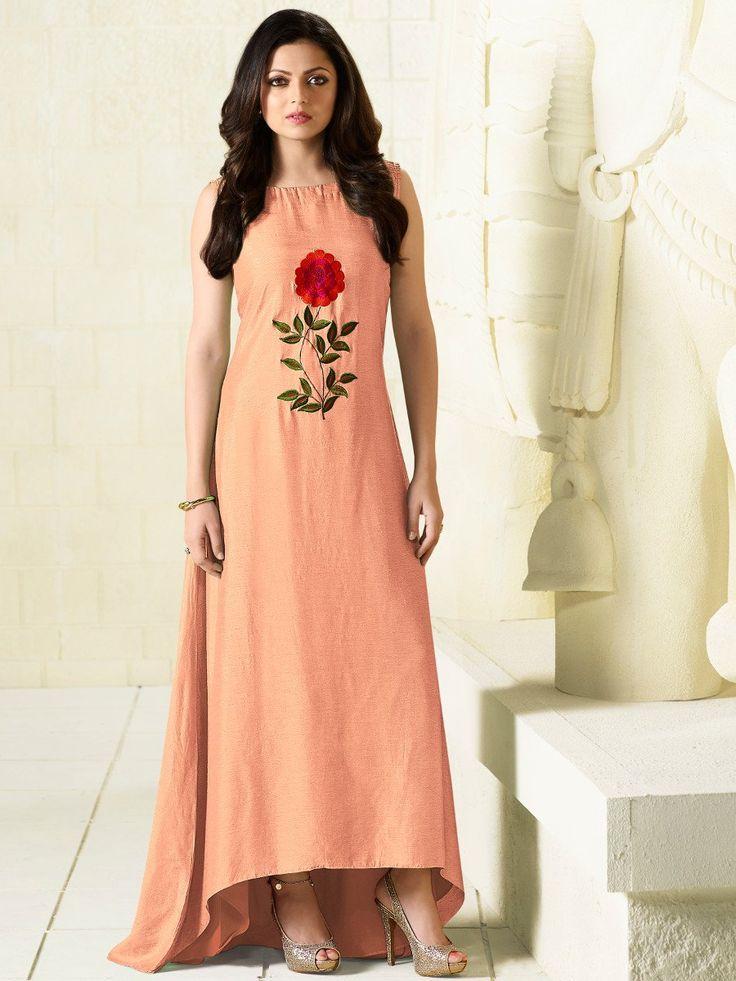 LT Fabrics Peach Mysore Silk Embroidered Kurti #Kurti #Peach