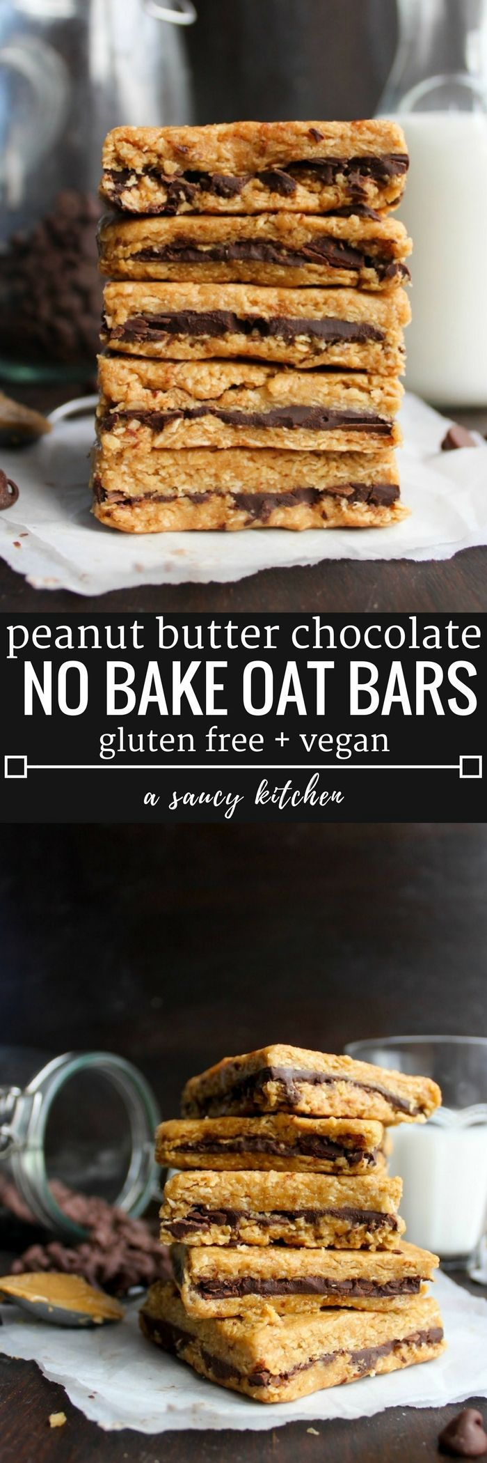 Peanut Butter Chocolate Oat Bars | 4 ingredient + no bake | Gluten Free + Vegan Option