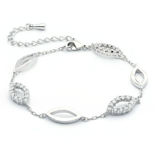 Breeze Link Chain Bracelet with Cubic Zirconia