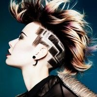mohawk hairstyle with hair tattoo