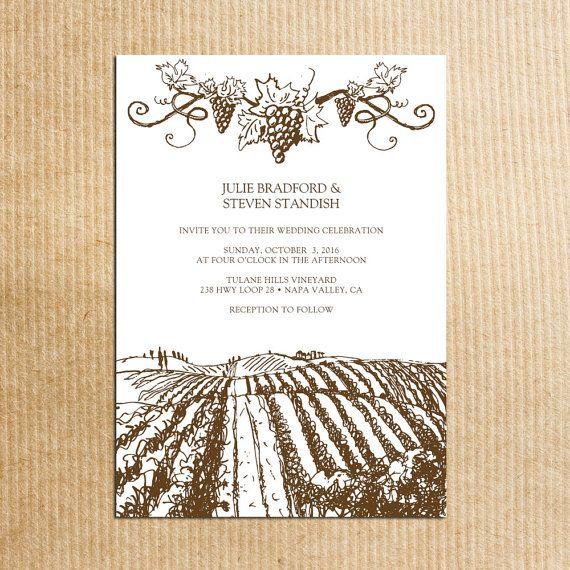 Brown rustic vineyard wedding invitations vintage grapevine stationery by razzledazzledesign on
