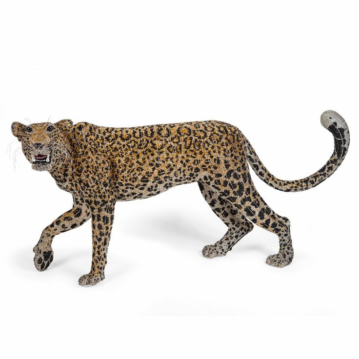 Life Size Bead and Wire Leopard