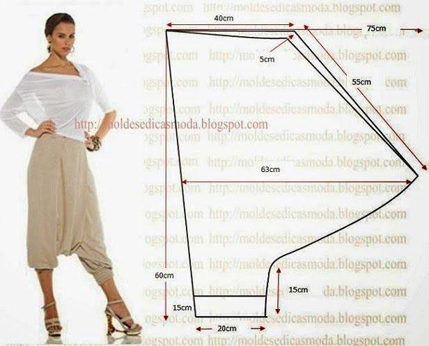 PASSO A PASSO MOLDE DE CALÇA Corte duas alturas de tecido com a medida que pretende. Dobre a meio o tecido. Desenhe a altura. Marque a medida do gancho. De