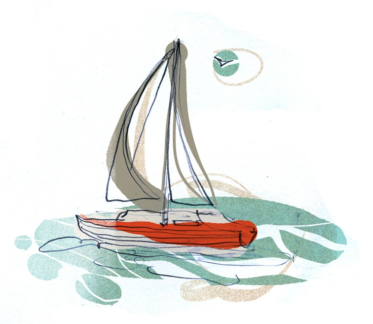 Boat for an article in the paper Dagen. Illustration Mattias Käll.: Paper Dagen, Article, Mattias Käll, Illustration Mattias, Paper Illustration