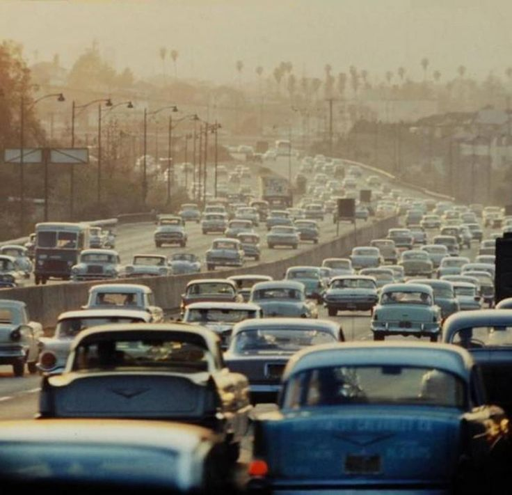 Los Angeles traffic jams in the 1950's! | Everything ...