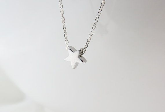 Silver star necklace  Tiny silver necklace Star by HLcollection, $25.00