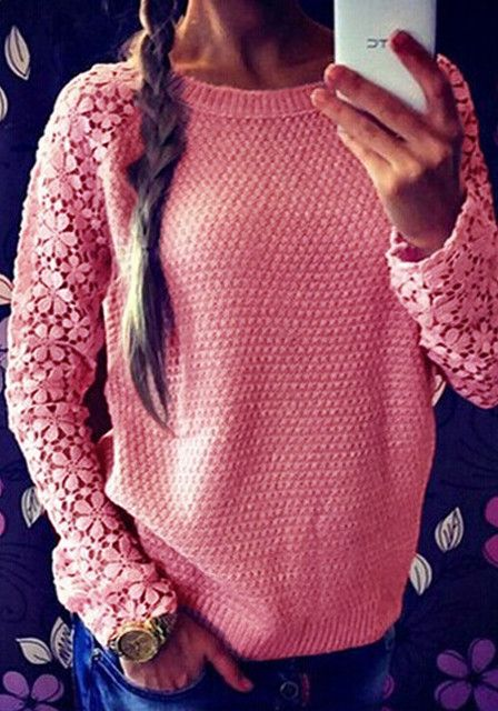 Crochet Lace Sleeve Sweater- Top