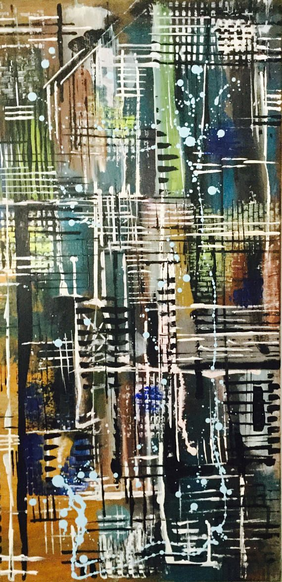 CityView. Abstract painting canvas modern acrylic painting