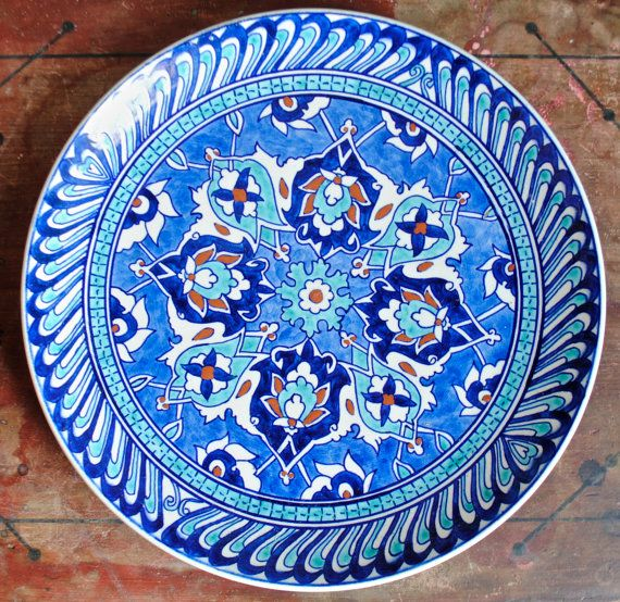 Vintage Turkish Kutahya Cini Handpainted by SquidWhaleDesigns