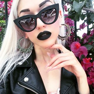 Check out this dark matte look! Exquisite. | 23 People Who Are Totally Rocking Black Lipstick