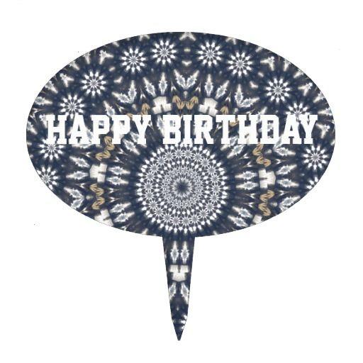 Birthday Blue Snowflake Kaleidoscope Cake Pick