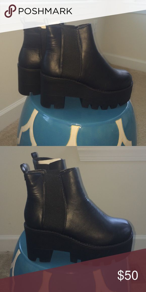 Platform Chelsea Boot Heels Purchased from Boohoo.com | Size 5 but fits very wide. Never been worn. *Box was torn when first received. Boohoo Shoes Ankle Boots & Booties