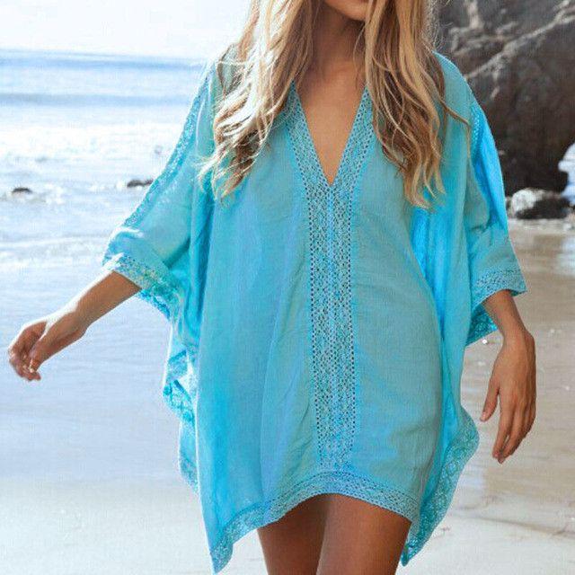 Lace Beach Cover up V-neck Bikini Cover Ups Beach Dress Women Swimsuit Covers up Beachwear 2016 Beach Tunic Bathing Suit Pareo